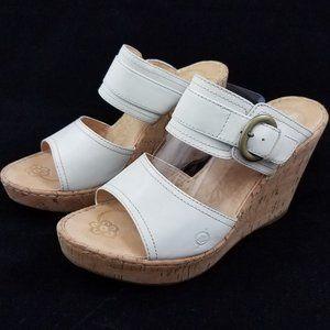 Born White Cork Wedge Platform Sandals Open Toe